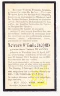 DP Maria Th. De Vadder ° Werchter 1867 † Kessel-Lo 1943 X E. Jacqmin / De Becker V Lemputte Verbeek Imbrechts Dargent - Images Religieuses