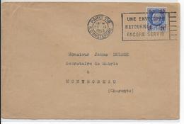 1943 - YVERT N° 552 PETAIN SUCHARGE SEUL Sur ENVELOPPE De PARIS Avec MECA => MONTMOREAU - Marcophilie (Lettres)