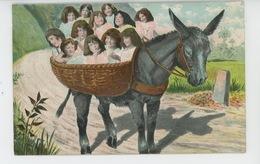 ENFANTS - BEBES - Jolie Carte Fantaisie Bébés Se Promenant Avec âne - Bébés
