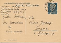 STRYJ - Ukraine - 1938 ,  Druckvermerk:  X-1937  -  Karta Pocztowa  Nach Warszawa - Ganzsachen