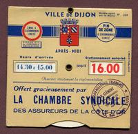 """DIJON (21) : """" DISQUE DE STATIONNEMENT - CHAMBRE SYNDICALE DE LA CÔTE-D'OR """" - Cars"""