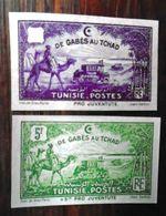 Tunisie 1928 - De Gabès Au Tchad  ,  Yvert# 148 + 153 - 02 Essais  Non Dentelé  - (**) - RARE - Tunisie (1888-1955)