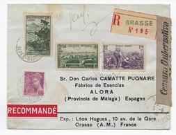 1941 - YVERT N° 468+469+474 Sur ENVELOPPE RECOMMANDEE De GRASSE => ALORA (ESPAGNE) Avec CENSURE ESPAGNOLE - Postmark Collection (Covers)