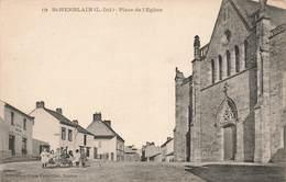 44 St Saint Herblain Place De L' Eglise Cpa Carte Animée Cachet Convoyeur Le Croisic à Nantes 1906 - Saint Herblain