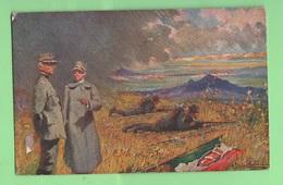 Re Vittorio Em. III° Savoia Con Generale Cadorna Viaggiata 1917 Emessa Società Dante Alighieri - Guerra 1914-18