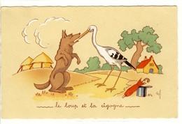 Carte Postale Ancienne Fantaisie Animaux - Le Loup Et La Cigogne - Fable De La Fontaine - Phantasie