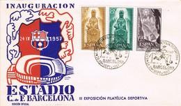 32502. Carta BARCELONA 1957, Inauguracion Estadio FUTBOL. Shet Montserrat 1192-1194 - 1931-Hoy: 2ª República - ... Juan Carlos I