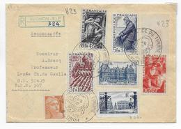 1949 - YVERT N° 822+ SERIE 823/826 +..  Sur ENVELOPPE RECO De AVIGNON => BPM 507 BADEN BADEN (ALLEMAGNE) - Postmark Collection (Covers)