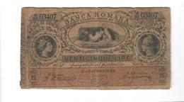 25 Lire Banca Romana Umberto I°1883 R3 RRR Forellini E Scritta Al R.lieve Mancanza Di Carta Mb+ Lotto.1636 - [ 1] …-1946 : Kingdom