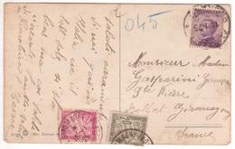 Carte Italie Janvier 1925 TAXE à 45c Dont 40c Rose Banderole Duval Giromagny Territoire De Belfort - 1859-1955 Storia Postale