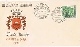 32509. Carta Exposicion CANET De MAR (Barcelona) 1973. Cruz De Pedracastell - 1931-Hoy: 2ª República - ... Juan Carlos I