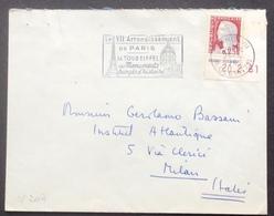 V207 Paris VII R.Cler Coin Daté «VIIè Arrondissement De Paris Tour Eiffel» Vers Italie Marianne Decaris 1263 26/4/1961 - Postmark Collection (Covers)