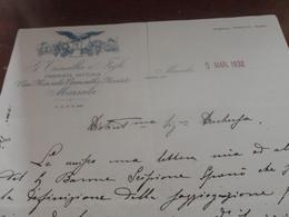LETTERA DITTA G.TRINCILLA & FIGLI-PREMIATA FATTORIA-VINI MARSALA VERMOUTH & MOSCATO-MARSALA 1932 - Italie