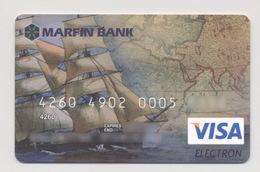 Credit Card Sailing Ship Sailboat Bankcard Marfin Bank UKRAINE VISA Expired - Geldkarten (Ablauf Min. 10 Jahre)