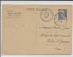 1951- CARTE  ENTIER POSTAL TYPE GANDON De COMBAULT (SEINE ET MARNE) => LE PRE ST GERVAIS - Standard Postcards & Stamped On Demand (before 1995)