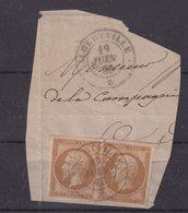 """FRANCE : N° 13 . 2 EX . 1860 . SUR FGT . OBL CAD SARDE . """" ALBERVILLE """" . TB . - Storia Postale (Francobolli Sciolti)"""