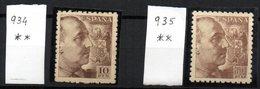 Sello Nº 934 Y 935  España - 1931-50 Nuevos & Fijasellos