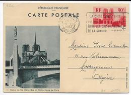 1937 - CARTE  ENTIER POSTAL TYPE NOTRE-DAME De PARIS => MOSTAGANEM (ALGERIE) - Cartoline Postali E Su Commissione Privata TSC (ante 1995)