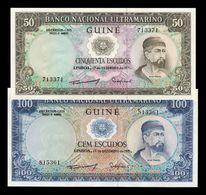 Portuguese Guinea Portuguesa Set 50 100 Escudos 1971 Pick 44 45 SC UNC - Billetes