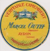 TRES RARE ETIQUETTE CAMEMBERT MARCEL GUTH AYRON VIENNE - Quesos