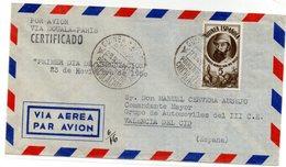 Carta Con Matasellos Certificado Via Aerea De Guinea Española - Guinea Española