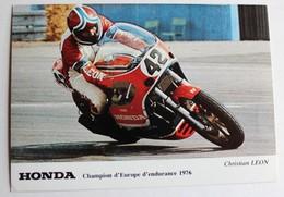Carte Postale Pilote Moto Christian Leon Champion D'Europe Endurance 1976 - Motociclismo