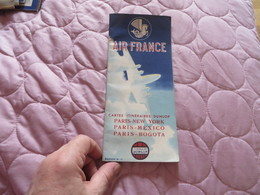 AIR FRANCE ,cartes Itinéraires DUNLOP ,,PARIS NEW YORK MEXICO BOGOTA - Advertisements