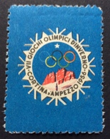 OLIMPIADI INVERNALI CORTINA D'AMPEZZO 1956  SIMBOLO LOGO   ETICHETTA PUBBLICITARIA   ERINNOFILO - Erinnofilia