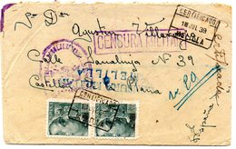 Carta Con Matasellos Certificado De Melilla Y Censura Militar. 1939. Viñeta Por Detras. - Marruecos Español