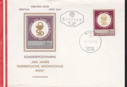 Austria 1968, Vienna Veterinary College FDC PRIMO GIORNO DI COPERTURA . - FDC