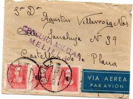 Carta Con Matasellos  De Melilla Y Censura Militar. 1939. Viñeta Por Detras. Via Aerea. - Marruecos Español
