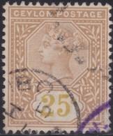 Ceylon     .     SG      .    178a  .   Value In Yellow        .      O    .   Cancelled    .    /    .   Gebruikt - Ceylon (...-1947)