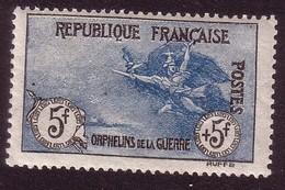 """Y&T 155 """"AU PROFIT DES ORPHELINS DE LA GUERRE 5F+5F NOIR ET BLEU"""" NEUF* - France"""