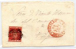 Frontal De Carta Con Matasellos Rojo Trujillo 1854 Caceres - 1850-68 Reino: Isabel II