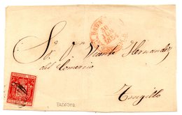 Frontal De Carta Con Matasellos Rojo Badajoz 1854 - 1850-68 Reino: Isabel II