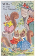 AS37 Artist Signed - Happy Days, Squirrels By E.H. Davie - Other Illustrators