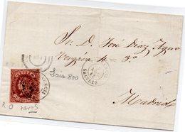 Envuelta De Carta Con Matasellos De Plasencia (caceres) - 1850-68 Reino: Isabel II