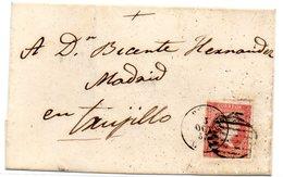 Envuelta De Carta Con Matasellos  Parrilla  De 1857 Trujillo - 1850-68 Reino: Isabel II
