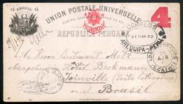 PERU. 1892 (21 Feb). PERU-BRAZIL Arequipa To Brazil/Joinville (28 April). 4c.stat.card Via Argentina. Scarce LatinAmeric - Peru