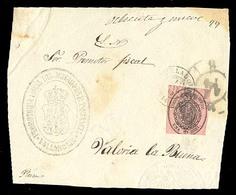E-PROVINCIAS. VALLADOLID.1863(17 Marzo).  36. Valladolid A Valoria La Buena. Frente Oficial Con Sello 1 Onza Con Mat.fec - España