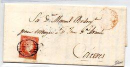 Carta Con Matasellos En Rojo Arroyo Del Puerco Caceres Y Por Detras Matasellos Azul Caceres. - 1850-68 Reino: Isabel II