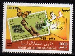 LIBYA, 2018, MNH,ANIVERSARY OF LIBYAN INDEPENDENCE, STAMP ON STAMP, BUTTERFLIES,  1v - Feste