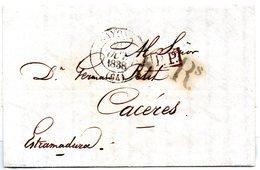 Carta Prefilatelica  Dirigida A Caceres De 1838 - España