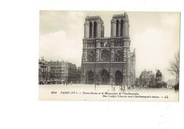 Cpa - 75 - PARIS - Notre Dame - Monument De Charlemagne - 1080 LL - Notre Dame De Paris