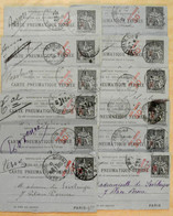 CHAPLAIN 30c Sur 50c - LOT D'ENTIERS (ATTENTION : UNIQUEMENT DES DEVANTS!) Pour OBLITERATIONS PARIS Etc. PNEUMATIQUE - Entiers Postaux