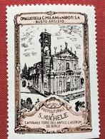 BUSTO ARSIZIO PREPOSITURA DI S.MICHELE  OMAGGIO FILATURA GIOVANNI MILANI      ETICHETTA PUBBLICITARIA  ERINNOFILO - Erinnophilie