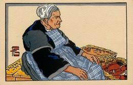 Pontivy - Marchande De Pontivy - Marché - Illustrateur Géo Fourrier - Cpa Peinte Aquarellée Ancienne - Pontivy