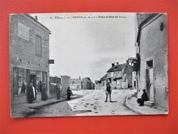 TILLAY LE PENEUX - Place Et Rue De Voves - Animation Devant Commerce Publicite Chocolat Menier  - Voyagée En 1905 - Autres Communes