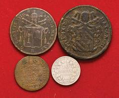 Papali Lotto Di 4 Monete Baiocco 1841 + 2 1848 + Quattrino 1802 + 10 Soldi 1866 D.240 - Monnaies Régionales