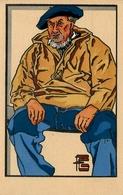 Le Guilvinec - Vieux Pêcheur Du Guilvinec - Illustrateur Géo Fourrier - Cpa Peinte Aquarellée Ancienne - Guilvinec